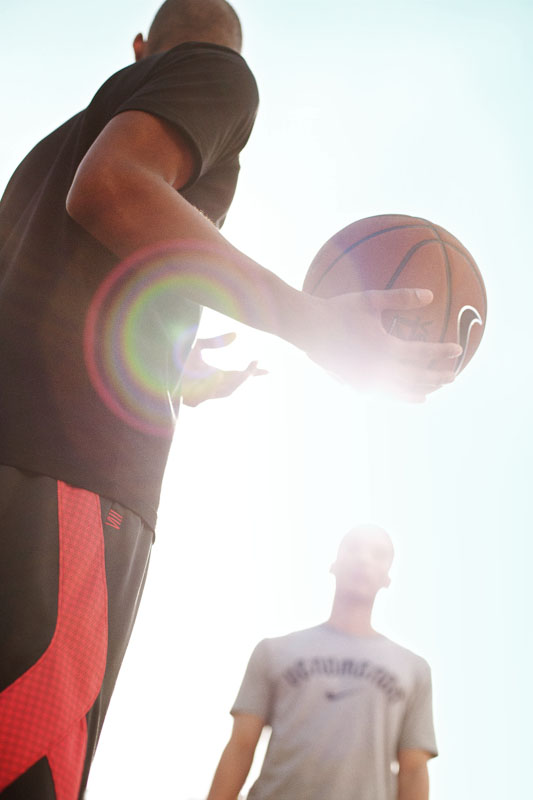 Nike basketball one on one lens flare by sport lifestyle photographer Anthony Georgis | www.anthonygeorgis.com