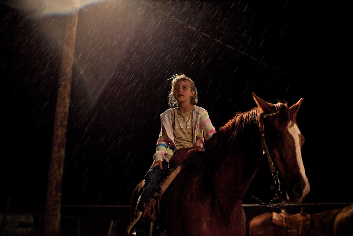 Girl on Horseback in the Rain - New Mexico