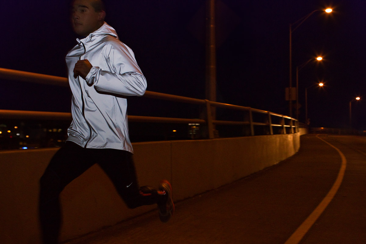 Night running for Nike reflective gear and safety by sport action photographer Anthony Georgis | www.anthonygeorgis.com